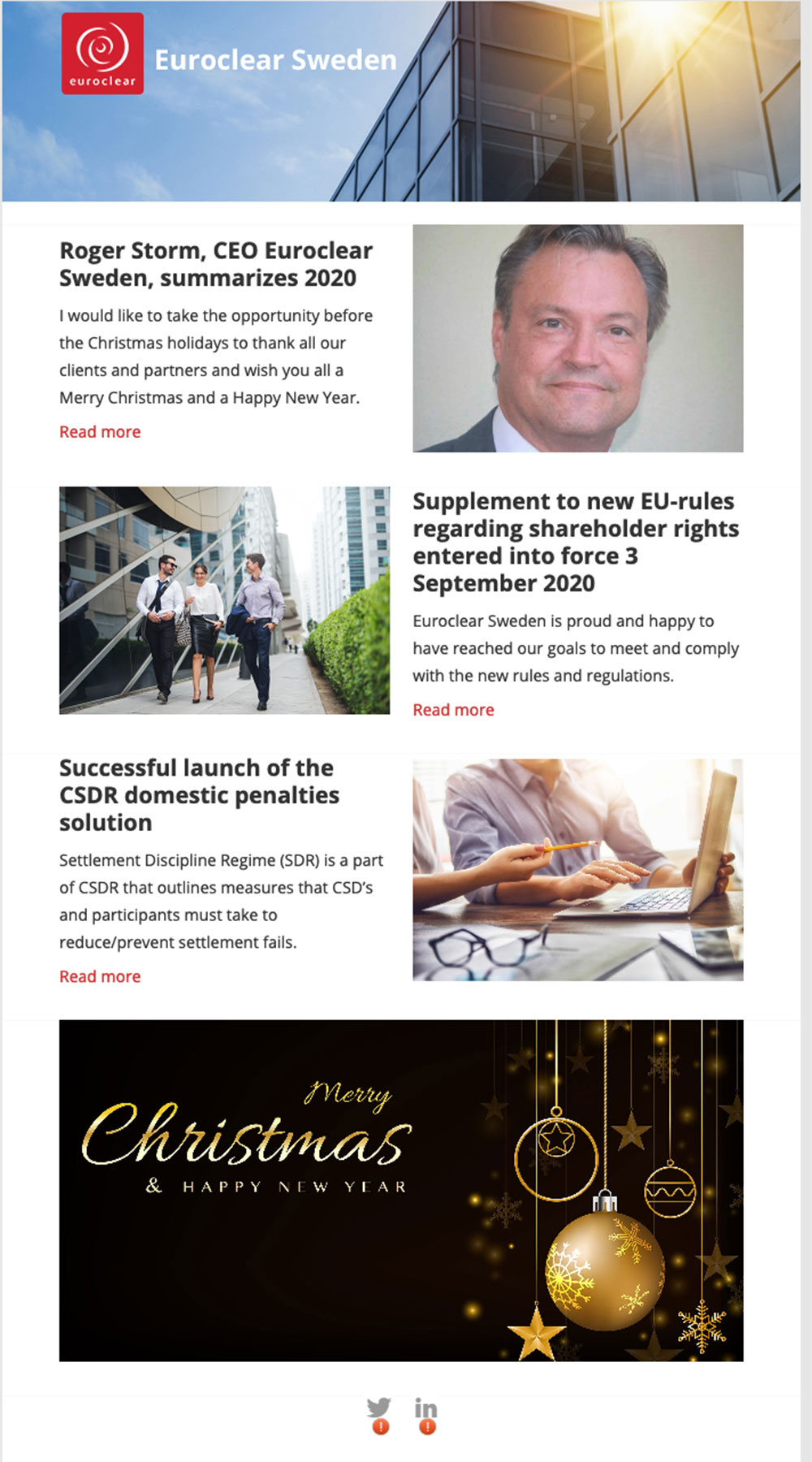 Euroclear Sweden's newsletter
